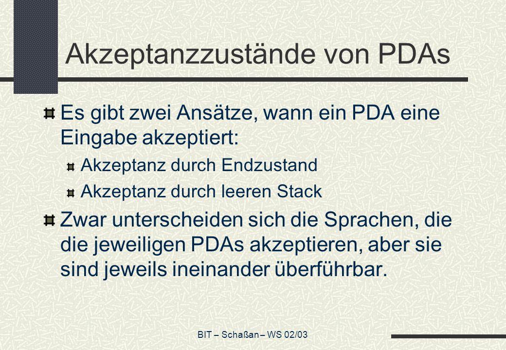 Akzeptanzzustände von PDAs