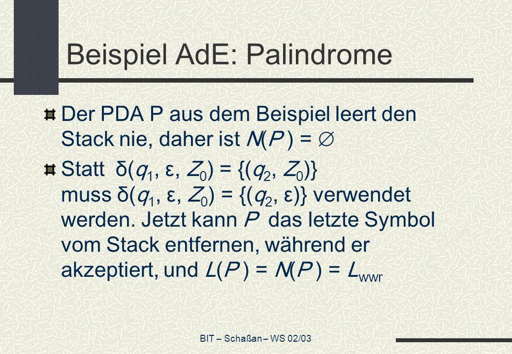 Beispiel AdE: Palindrome