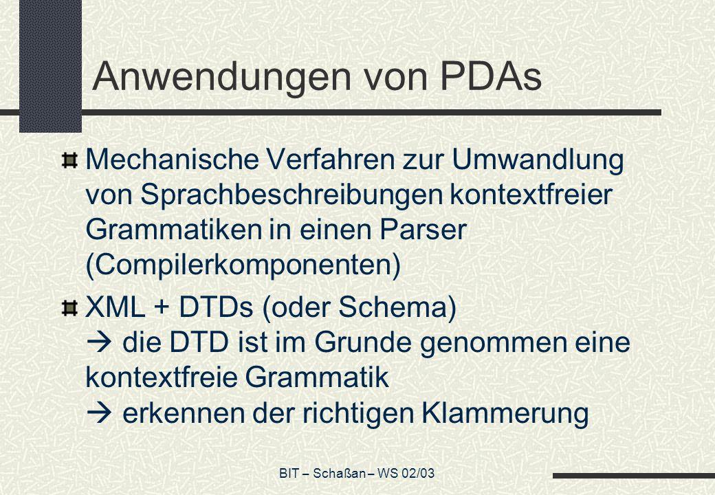 Anwendungen von PDAs Mechanische Verfahren zur Umwandlung von Sprachbeschreibungen kontextfreier Grammatiken in einen Parser (Compilerkomponenten)