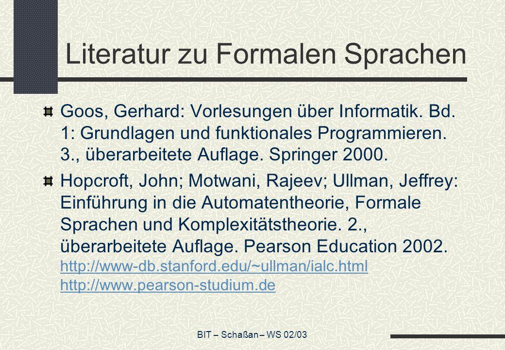 Literatur zu Formalen Sprachen