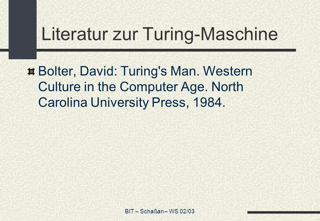 Literatur zur Turing-Maschine