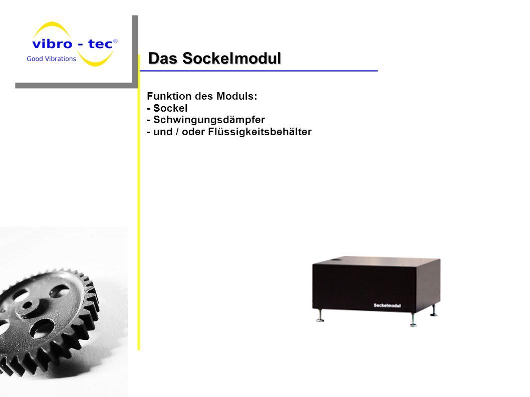 Das Sockelmodul Funktion des Moduls: - Sockel - Schwingungsdämpfer