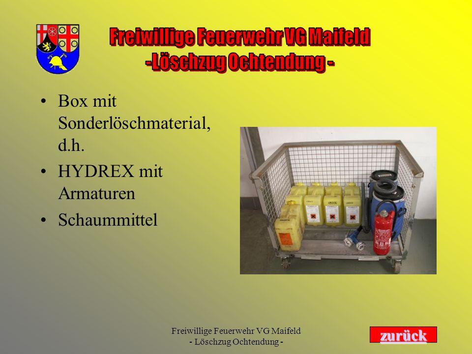 Box mit Sonderlöschmaterial, d.h.