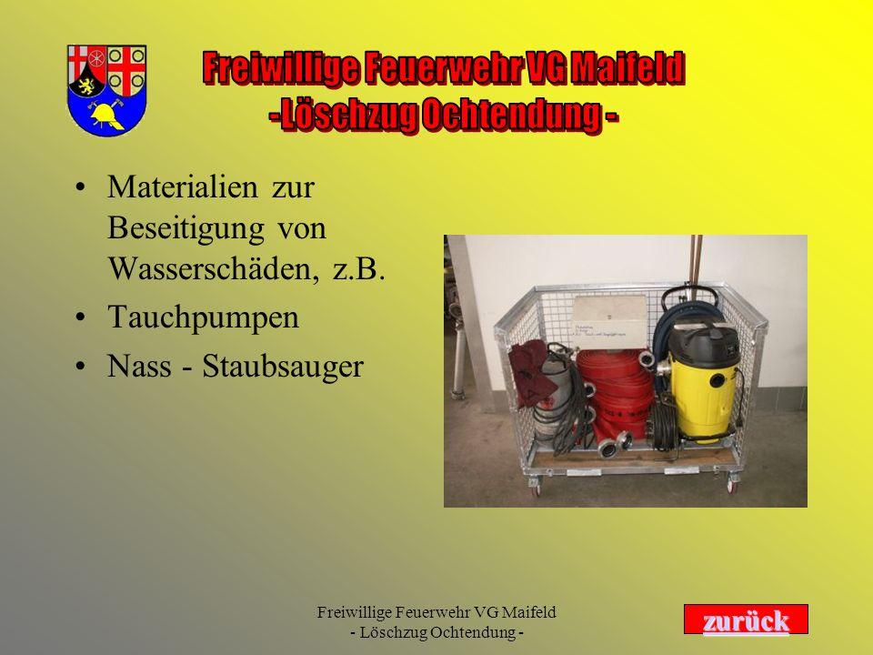 Materialien zur Beseitigung von Wasserschäden, z.B.
