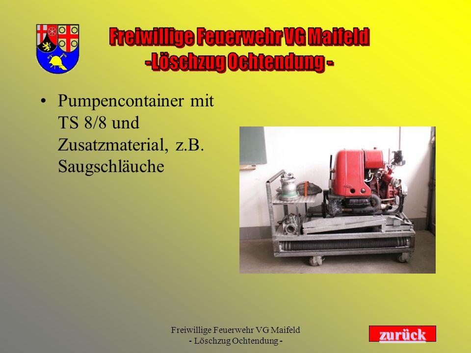Pumpencontainer mit TS 8/8 und Zusatzmaterial, z.B. Saugschläuche