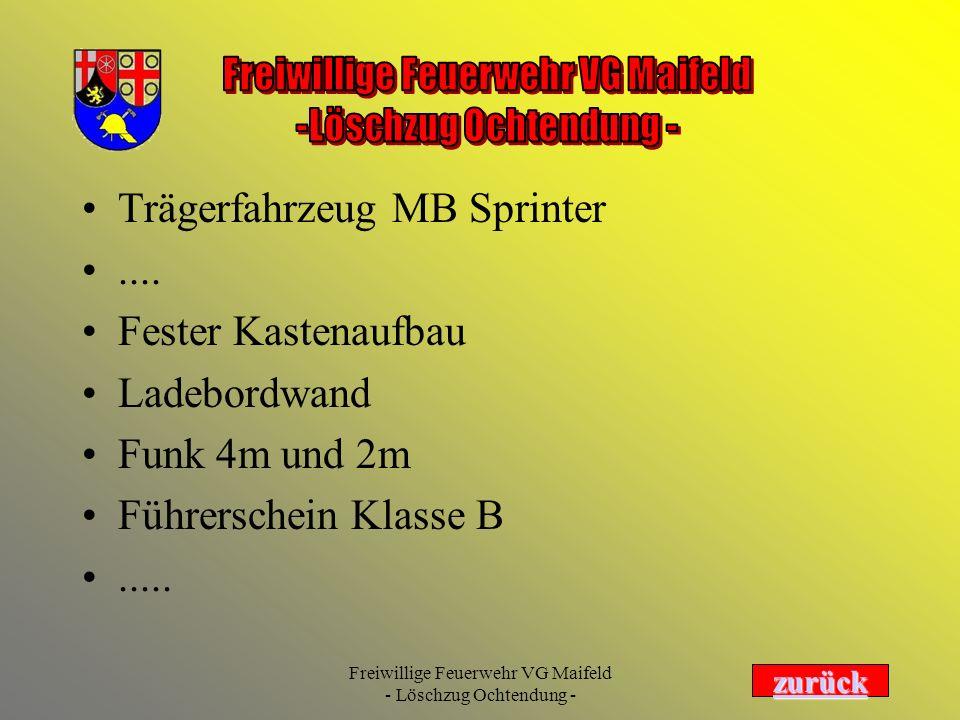 Trägerfahrzeug MB Sprinter .... Fester Kastenaufbau Ladebordwand