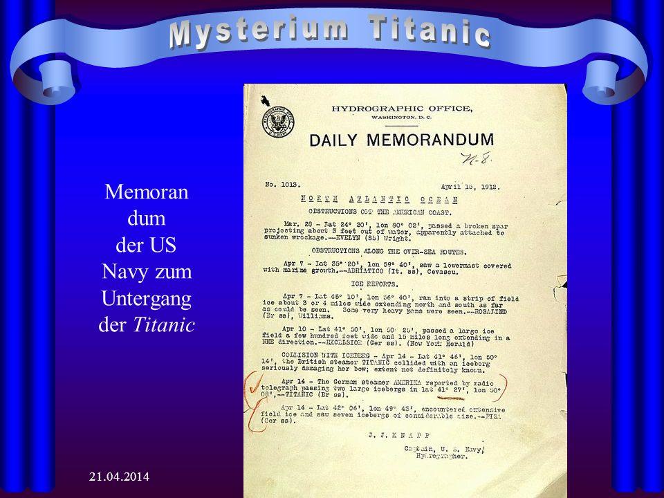 Memorandum der US Navy zum Untergang der Titanic