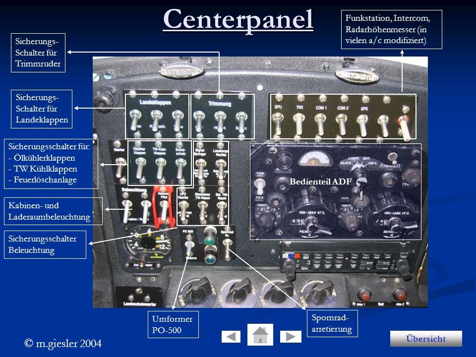 Centerpanel Funkstation, Intercom, Radarhöhenmesser (in vielen a/c modifiziert) Sicherungs- Schalter für.