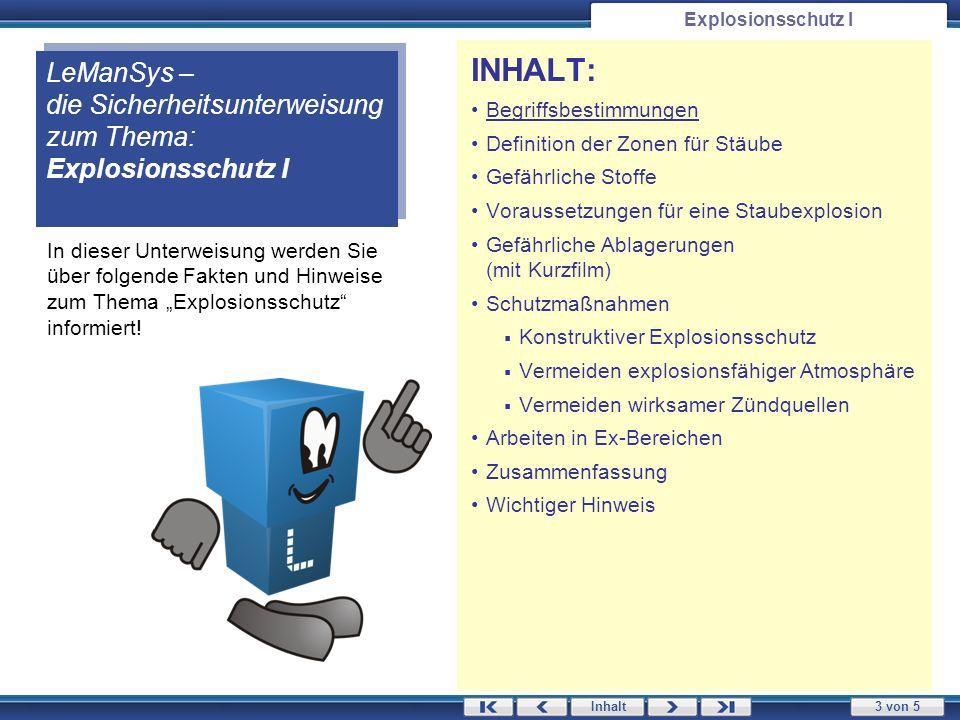 Explosionsschutz I LeManSys – die Sicherheitsunterweisung zum Thema: Explosionsschutz I. INHALT: