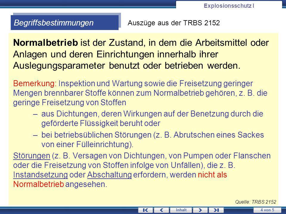 Explosionsschutz I Begriffsbestimmungen. Auszüge aus der TRBS 2152.