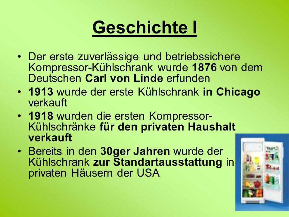 Geschichte I Der erste zuverlässige und betriebssichere Kompressor-Kühlschrank wurde 1876 von dem Deutschen Carl von Linde erfunden.