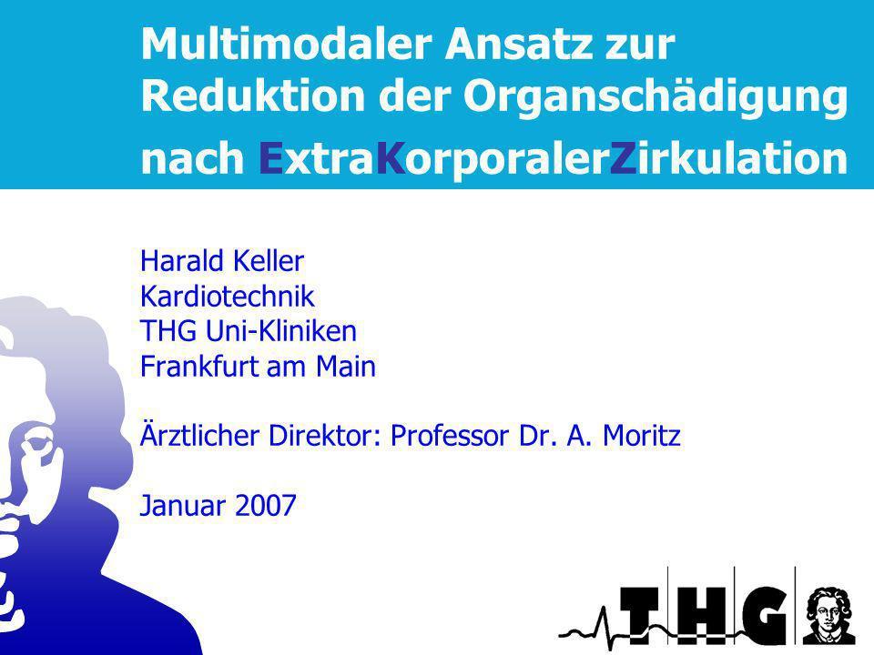 Multimodaler Ansatz zur Reduktion der Organschädigung nach ExtraKorporalerZirkulation Harald Keller Kardiotechnik THG Uni-Kliniken Frankfurt am Main Ärztlicher Direktor: Professor Dr.