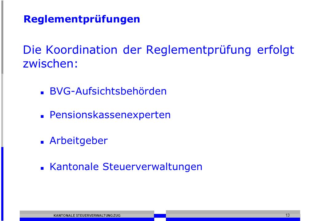 Die Koordination der Reglementprüfung erfolgt zwischen: