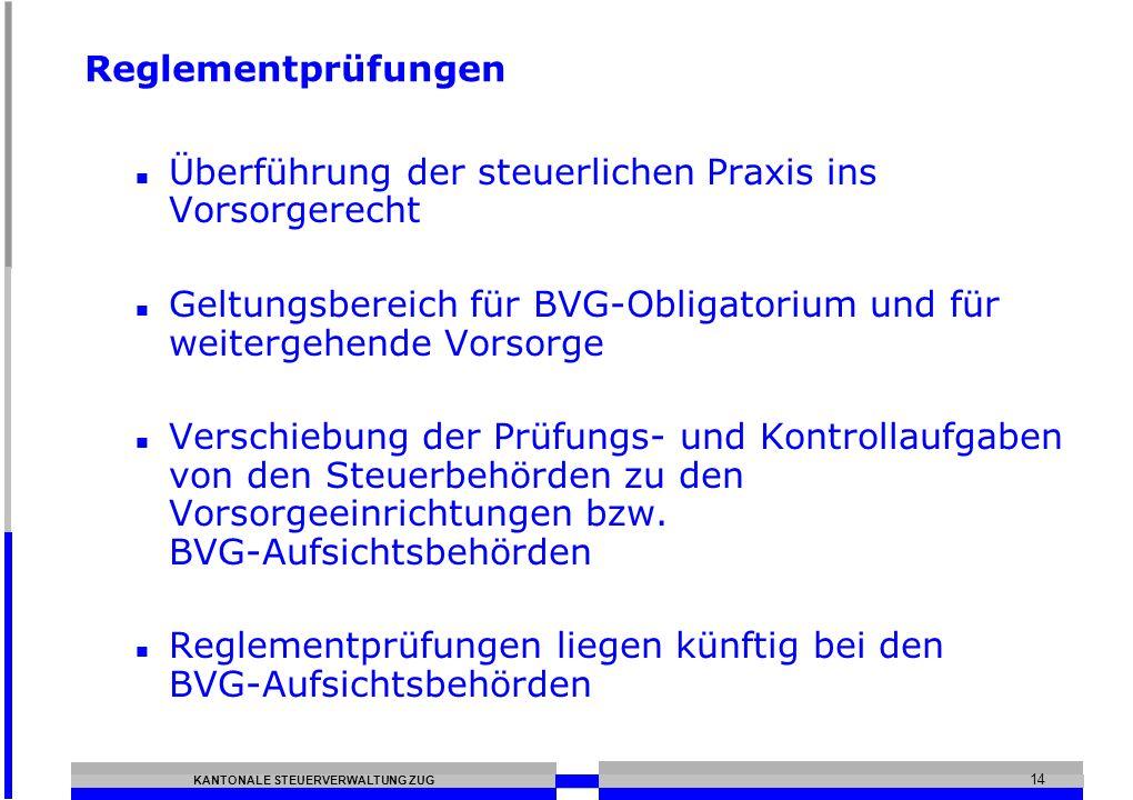 ReglementprüfungenÜberführung der steuerlichen Praxis ins Vorsorgerecht. Geltungsbereich für BVG-Obligatorium und für weitergehende Vorsorge.
