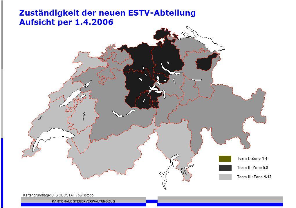 Zuständigkeit der neuen ESTV-Abteilung Aufsicht per 1.4.2006