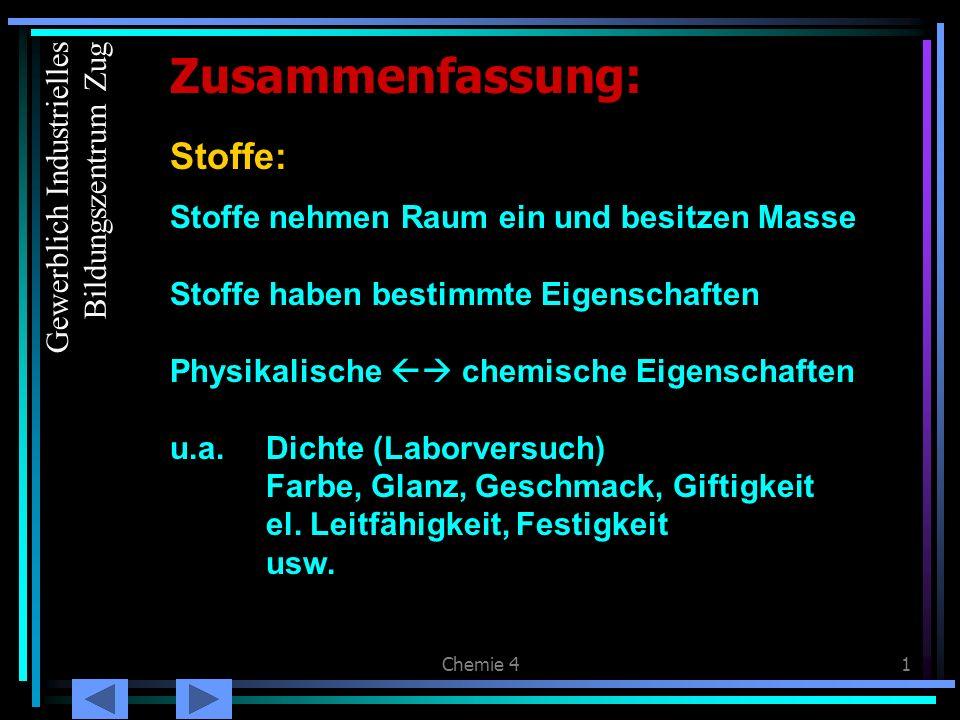 Zusammenfassung: Stoffe: Gewerblich Industrielles Bildungszentrum Zug