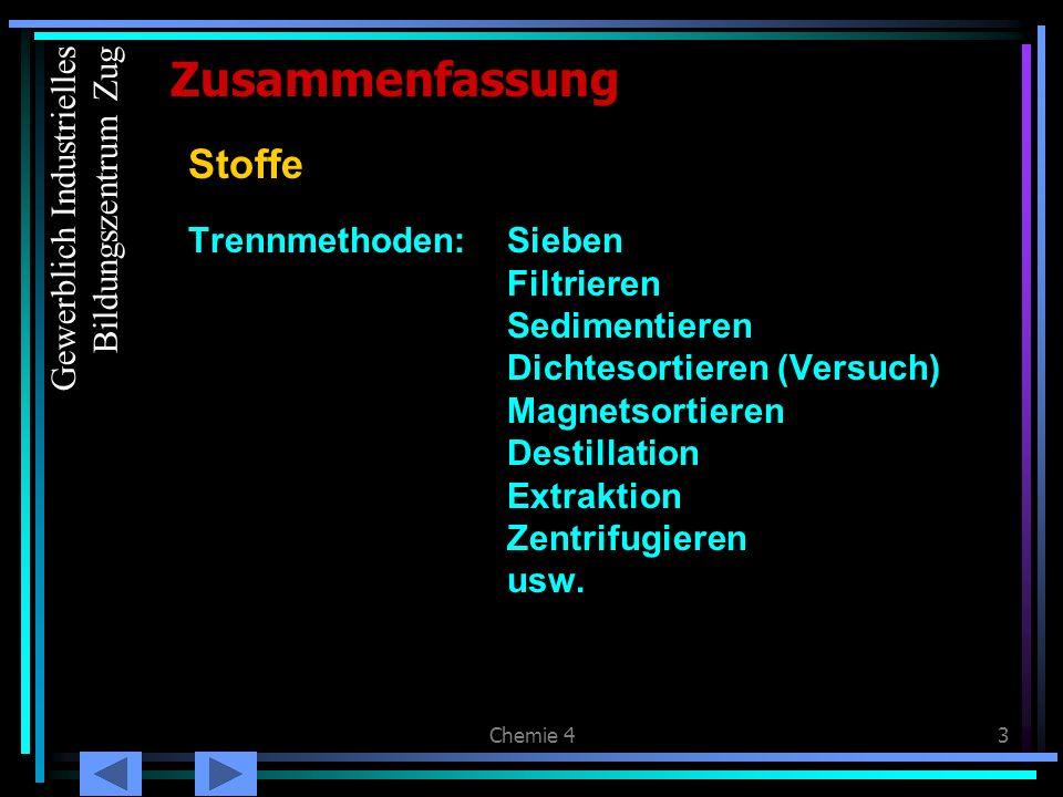 Zusammenfassung Stoffe Gewerblich Industrielles Bildungszentrum Zug