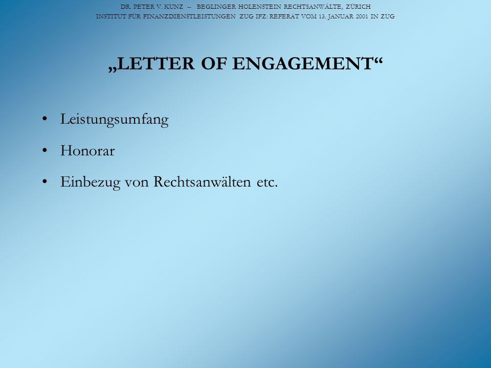 """LETTER OF ENGAGEMENT"