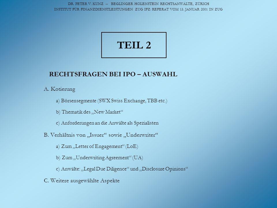 DR. PETER V. KUNZ -- BEGLINGER HOLENSTEIN RECHTSANWÄLTE, ZÜRICH