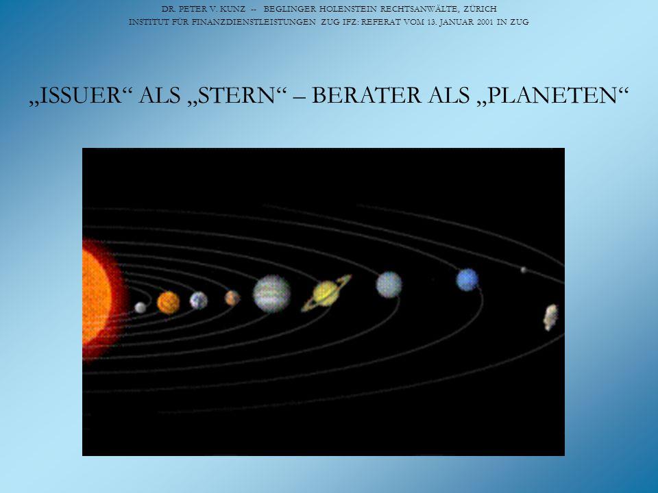 """""""ISSUER ALS """"STERN – BERATER ALS """"PLANETEN"""
