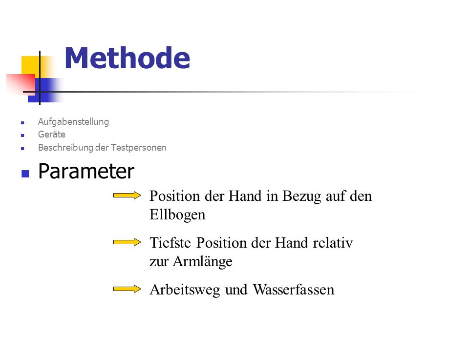 Methode Parameter Position der Hand in Bezug auf den Ellbogen