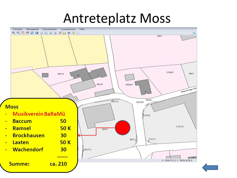 Antreteplatz Moss Moss: Musikverein BaRaMü Baccum 50 Ramsel 50 K