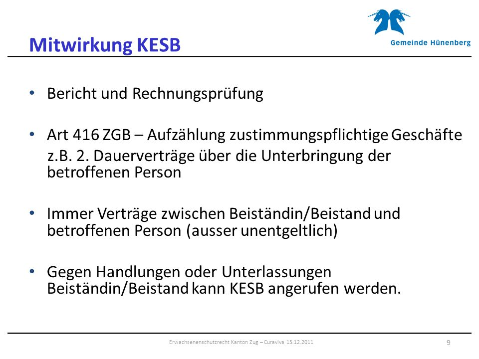 Erwachsenenschutzrecht Kanton Zug – Curaviva 15.12.2011