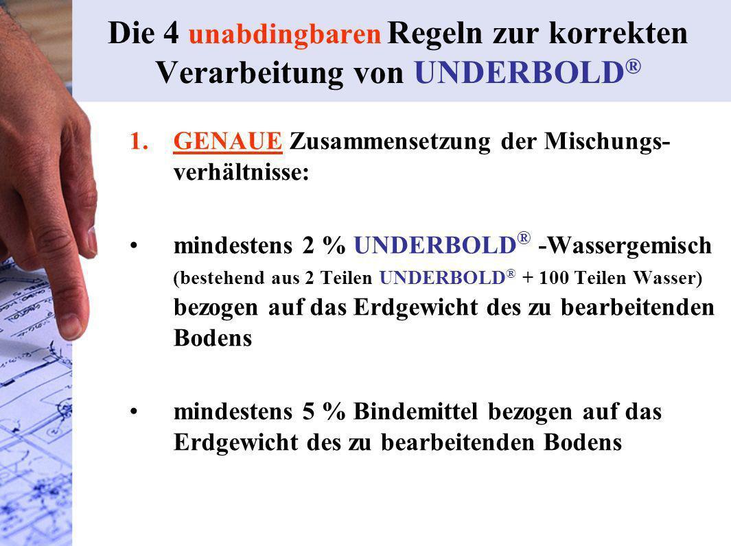 Die 4 unabdingbaren Regeln zur korrekten Verarbeitung von UNDERBOLD®