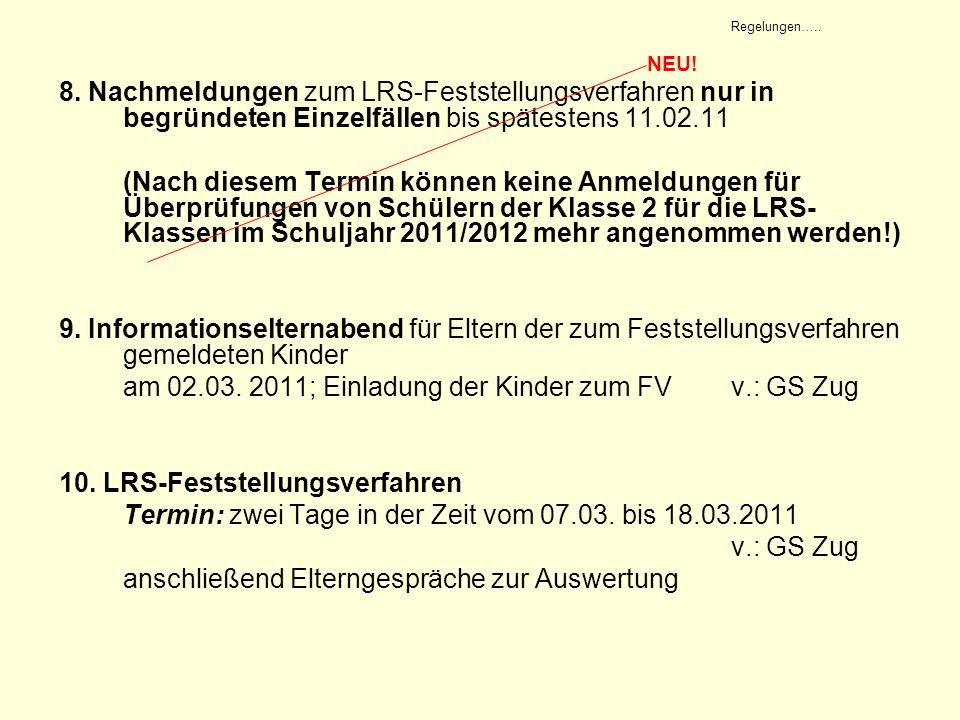 am 02.03. 2011; Einladung der Kinder zum FV v.: GS Zug
