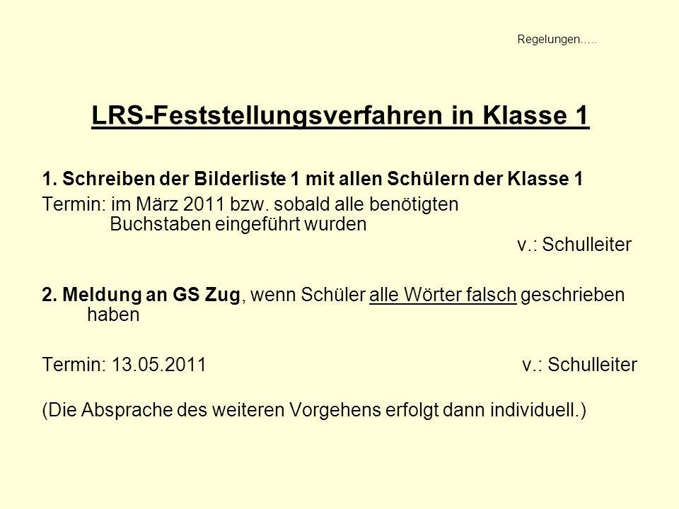 LRS-Feststellungsverfahren in Klasse 1