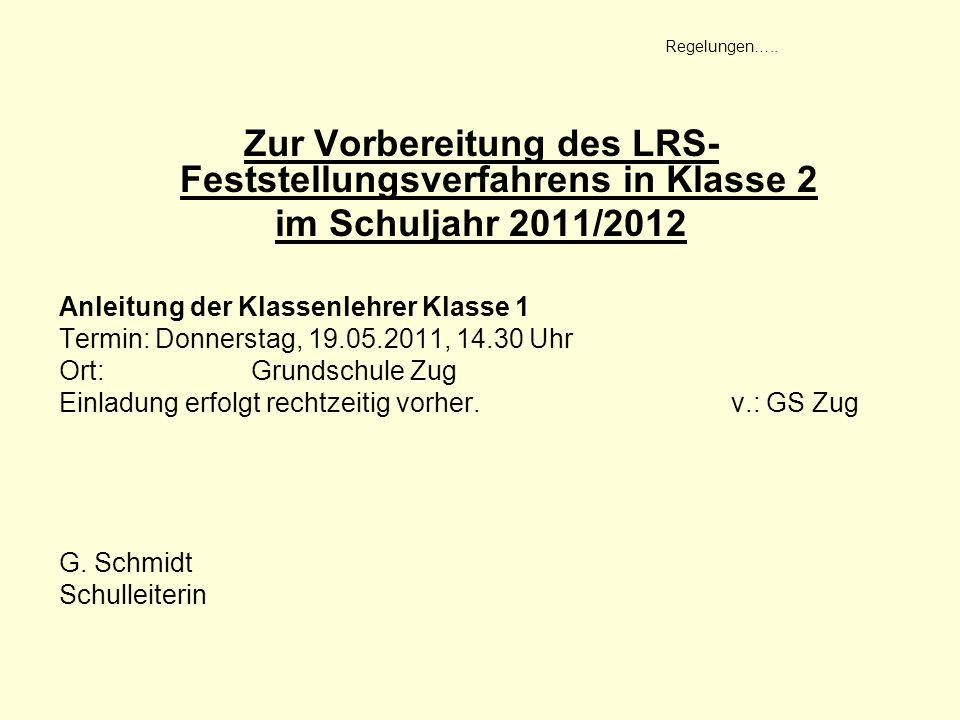Zur Vorbereitung des LRS-Feststellungsverfahrens in Klasse 2
