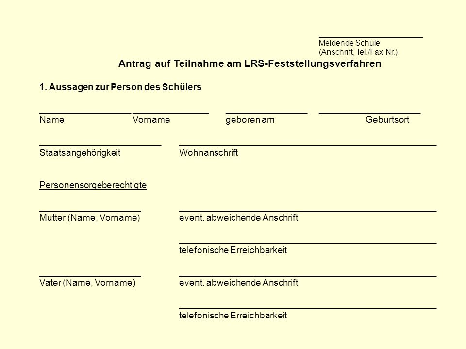 Antrag auf Teilnahme am LRS-Feststellungsverfahren