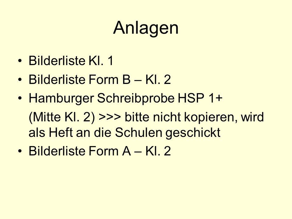 Anlagen Bilderliste Kl. 1 Bilderliste Form B – Kl. 2