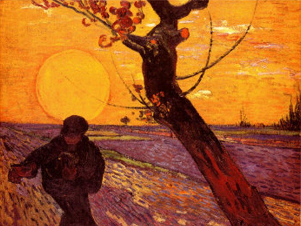 Standbild vor Vortrag: Sonne mit Sämann von Vincent van Gogh.