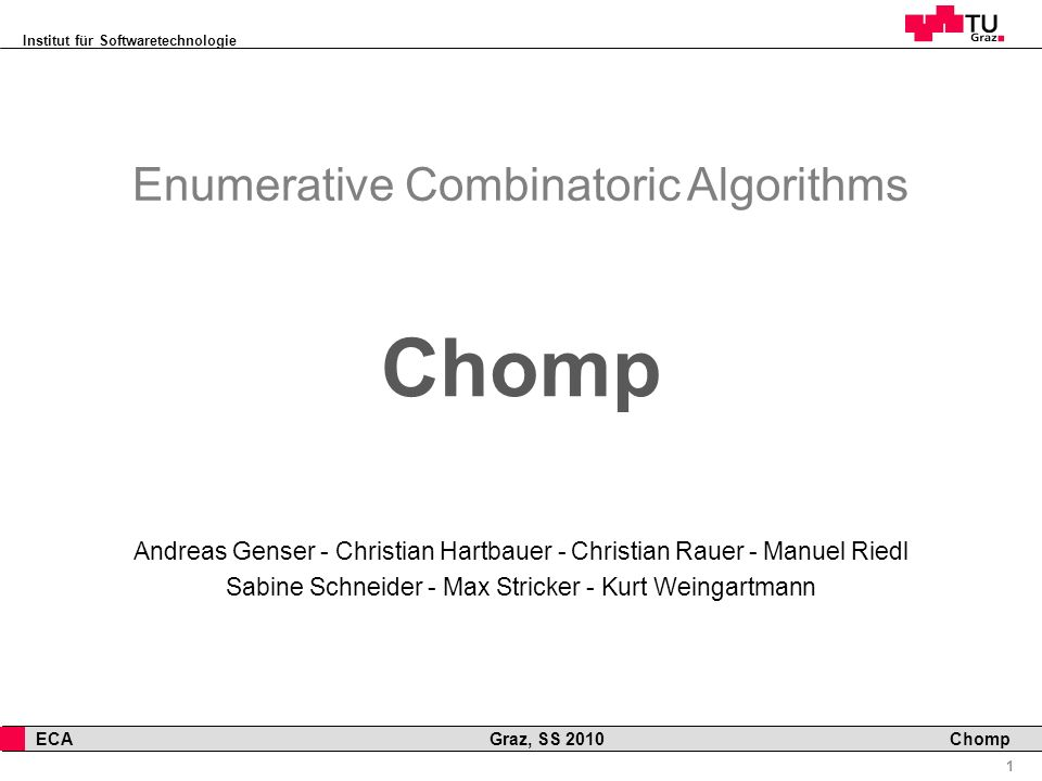 Chomp Enumerative Combinatoric Algorithms