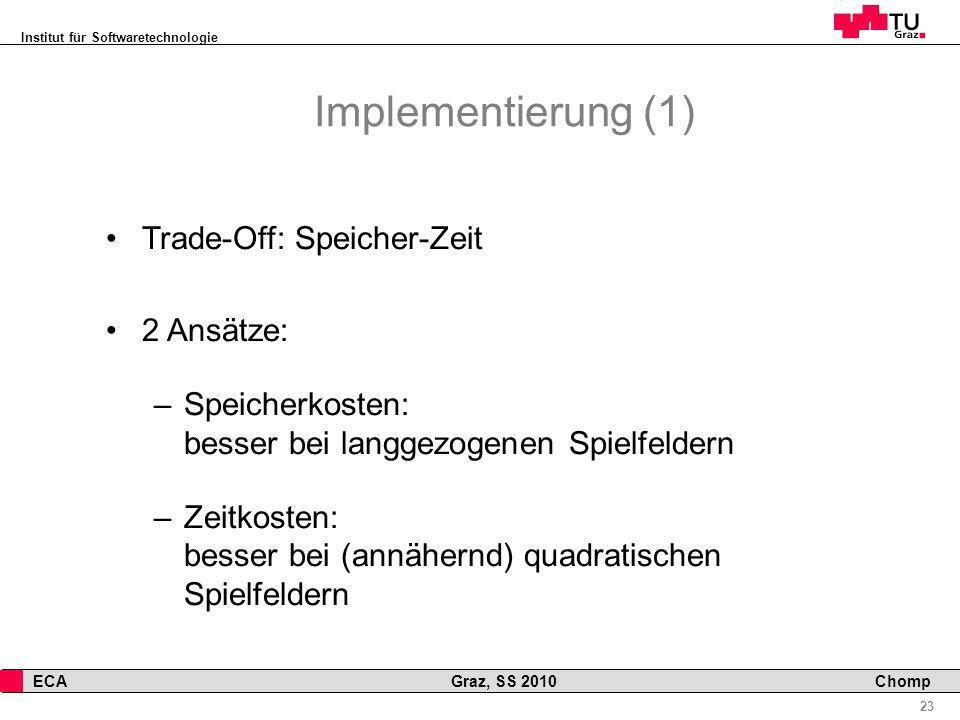 Implementierung (1) Trade-Off: Speicher-Zeit 2 Ansätze: