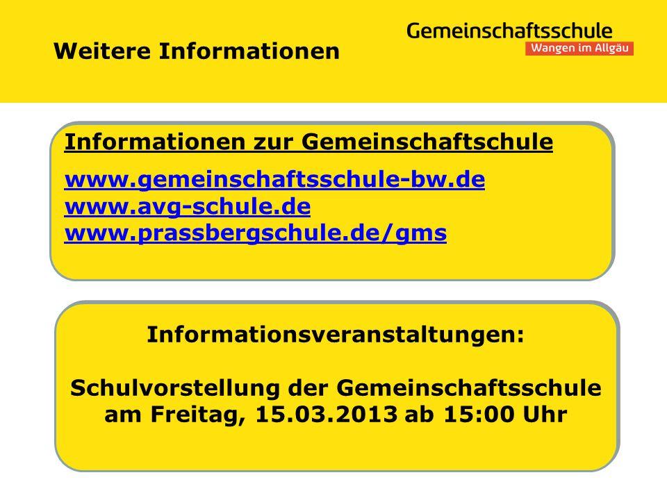 Weitere Informationen Informationsveranstaltungen: