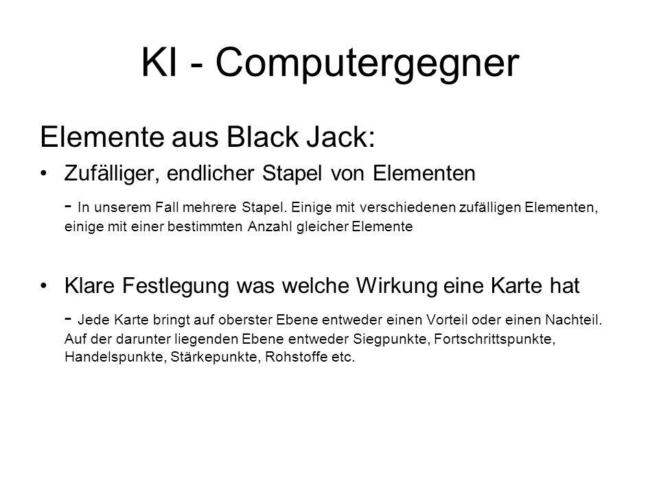 KI - Computergegner Elemente aus Black Jack: