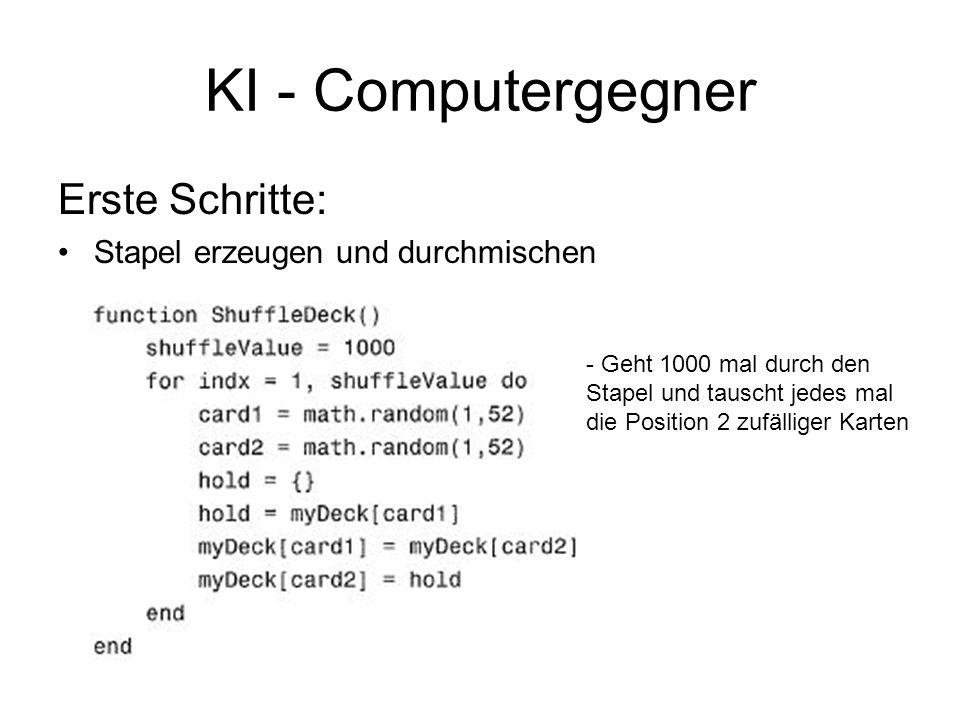 KI - Computergegner Erste Schritte: Stapel erzeugen und durchmischen