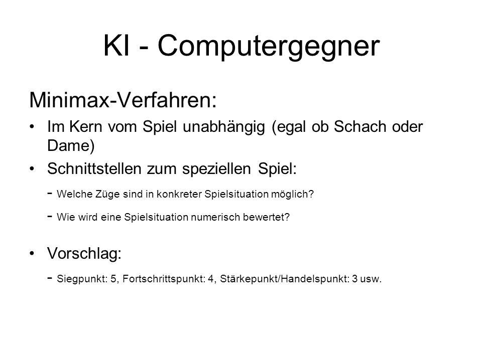 KI - Computergegner Minimax-Verfahren: