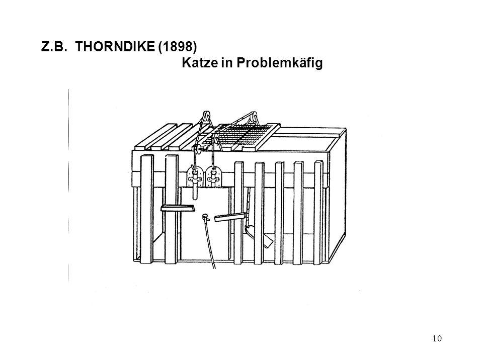 Z.B. THORNDIKE (1898) Katze in Problemkäfig