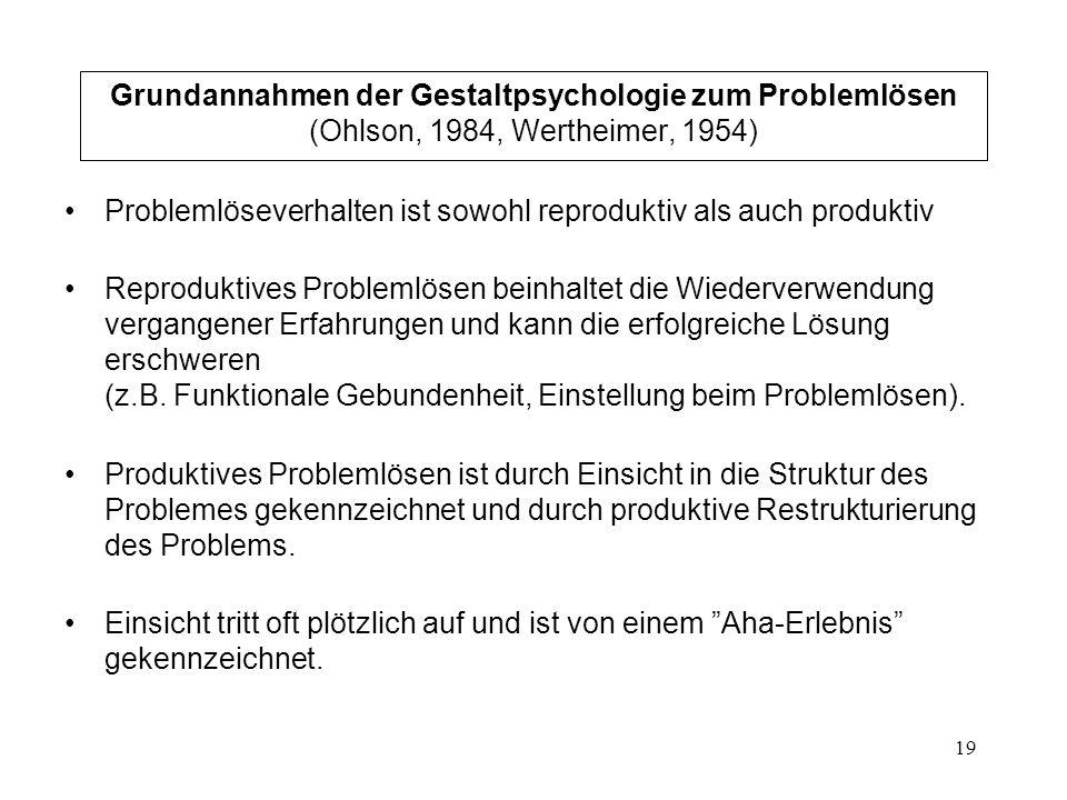 Grundannahmen der Gestaltpsychologie zum Problemlösen (Ohlson, 1984, Wertheimer, 1954)