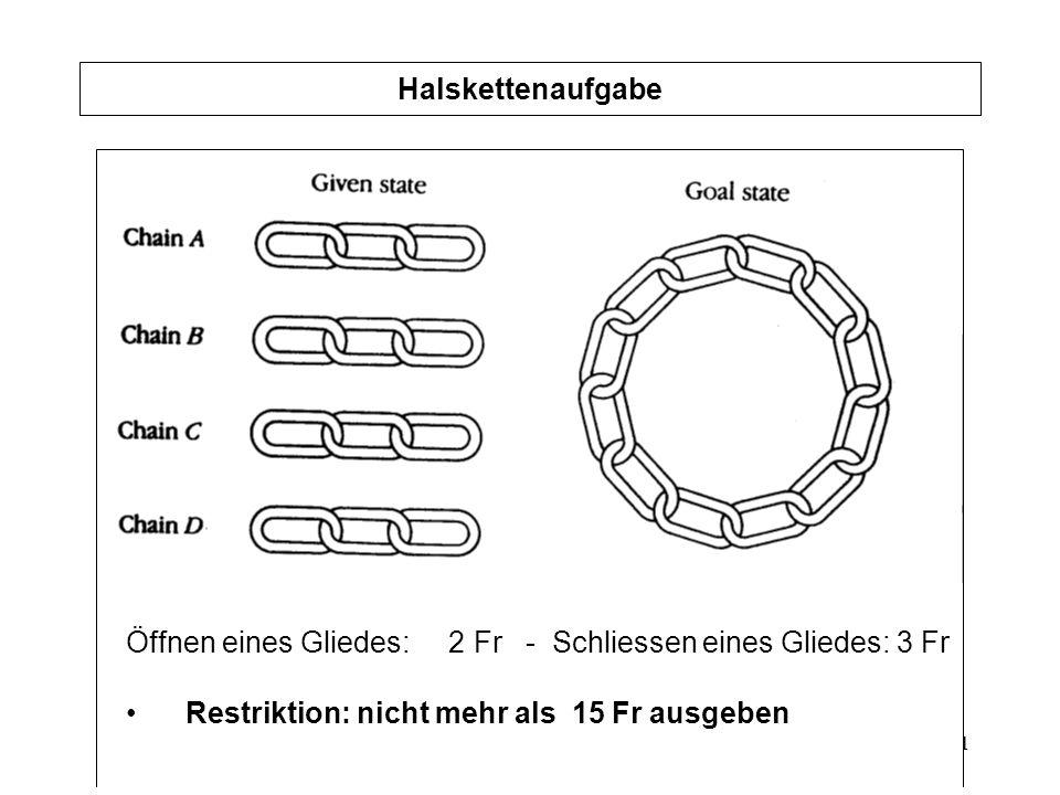 Halskettenaufgabe Öffnen eines Gliedes: 2 Fr - Schliessen eines Gliedes: 3 Fr.