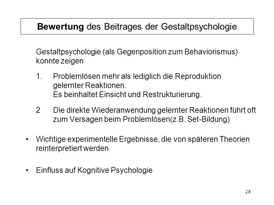 Bewertung des Beitrages der Gestaltpsychologie