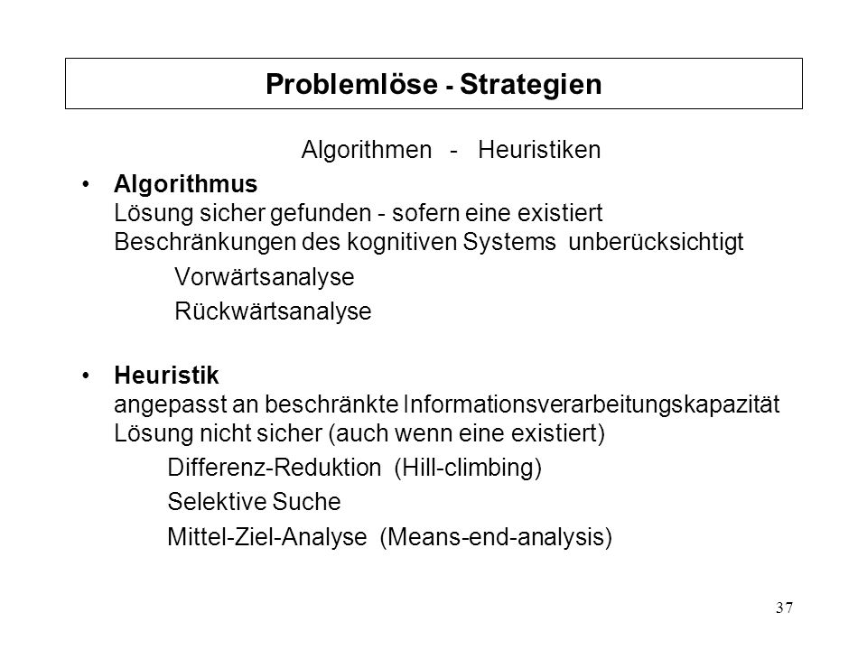 Problemlöse - Strategien