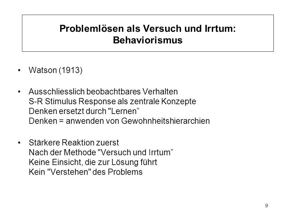 Problemlösen als Versuch und Irrtum: Behaviorismus