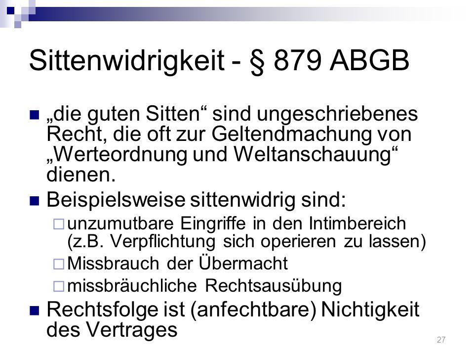 Sittenwidrigkeit - § 879 ABGB