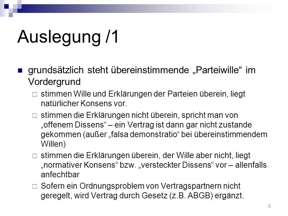 """Auslegung /1 grundsätzlich steht übereinstimmende """"Parteiwille im Vordergrund."""