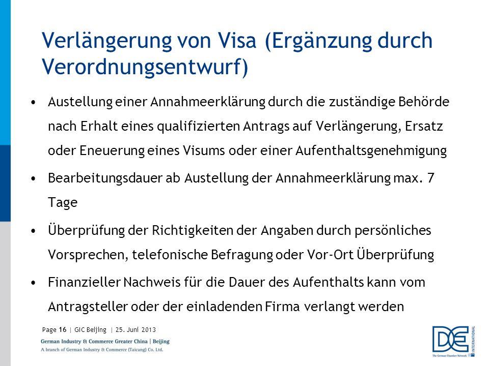 Verlängerung von Visa (Ergänzung durch Verordnungsentwurf)