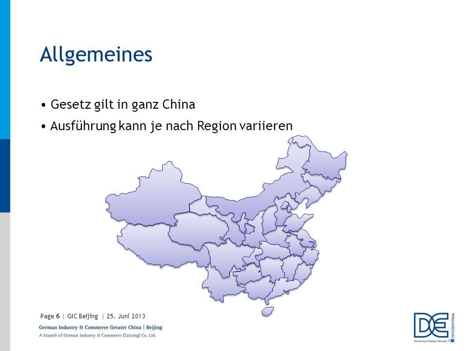 Allgemeines Gesetz gilt in ganz China